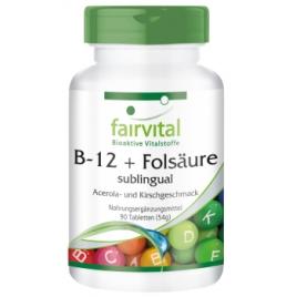 B12 y Ácido Fólico con sabor a acerola-90 caps